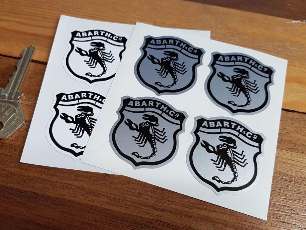 Abarth & Co Scorpion Shield Stickers. Set of 4. 40mm.