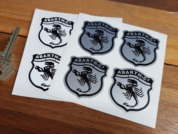 Abarth & Co Scorpion Shield Stickers. Set of 4. 40mm.