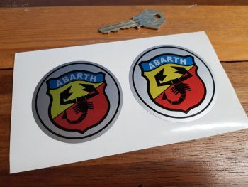 Abarth Round Shield Stickers. 65mm & 70mm Set of two.