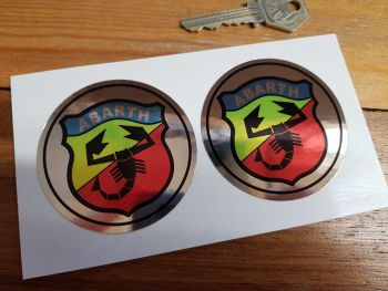 Abarth Shield Logo Chrome Style Stickers. 65mm Pair.