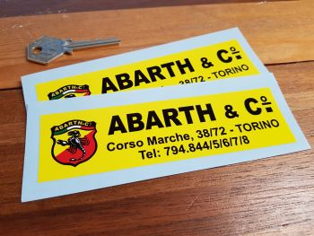 "Abarth & Co Dealer Stickers. 5.5"" Pair."