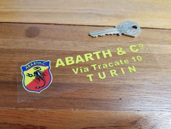 "Abarth & Co Turin Dealer Window Sticker. 5.5""."