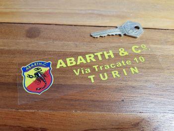 "Abarth & Co Turin Dealer Window Sticker - 5.5"""