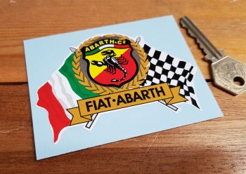 "Abarth & Co. Fiat. Flag & Scroll Sticker. 4""."