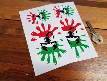 "Abarth Scorpion. Splat Style Stickers. 4"" Pair."