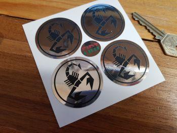 Abarth Scorpion Logo Chrome Style Stickers. 45mm Set of 4.