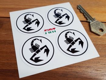 Abarth Scorpion Black & White Circular Stickers. Set of 4. 45mm.
