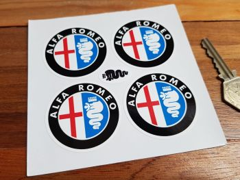 Alfa Romeo Colour on White Wheel Centre Stickers. Set of 4. 50mm.