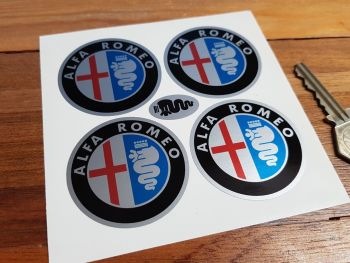 Alfa Romeo Colour on Silver Wheel Centre Stickers. Set of 4. 50mm, 55mm, or 70mm.
