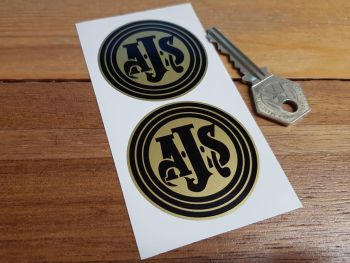 AJS Black on Gold Circular Stickers. 50mm or 60mm Pair.
