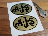 """AJS Black on Gold Oval Stickers. 2.5"""" Pair."""