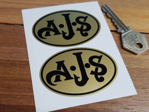 AJS Black on Gold Oval Stickers. 2.5