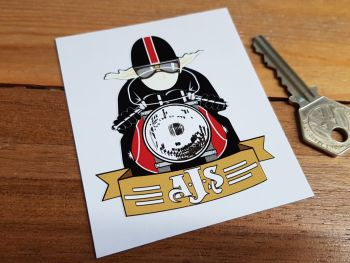 "AJS Cafe Racer with Pudding Basin Helmet Sticker. 3""."