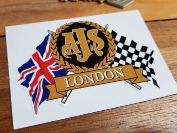 "AJS Flag & Scroll Sticker. 3.75""."