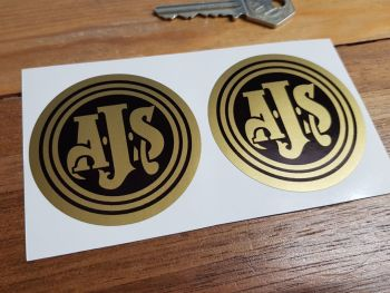 AJS Gold on Black Circular Stickers. 60mm Pair.