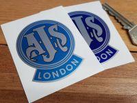 "AJS London Mudguard Style Sticker. 2""."
