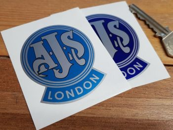 "AJS London Mudguard Style Sticker. 2""."