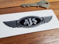 "AJS. Winged Helmet Sticker. 3.5""."