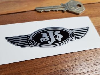 "AJS. Winged Helmet Sticker. 3.5""."