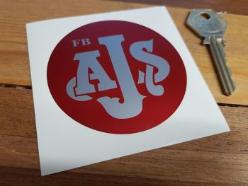 "AJS Red & Silver Circular Sticker. 3""."