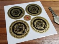 Chrysler Wheel Centre Style Stickers. Black & Gold. Set of 4. 50mm.