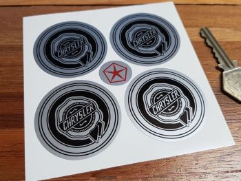 Chrysler Wheel Centre Style Stickers. Black & Silver. Set of 4. 50mm or 60mm.