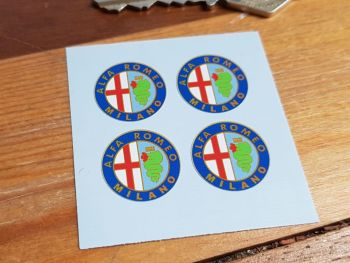 Alfa Romeo Milano Circular Stickers. Set of 4. 20mm.