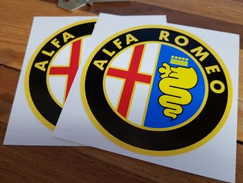"Alfa Romeo Logo Stickers. Colour. 4"" Pair."