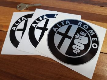 "Alfa Romeo Logo Stickers. Black & White/Silver/Clear. 3"" or 4"" Pair."