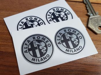 Alfa Romeo Old Simple Style Monochrome Logo Stickers. 32mm Pair.
