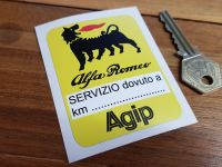 Alfa Romeo & Agip. Yellow Service Sticker. 3