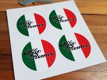 Alfa Romeo Tricola Circular Stickers. Set of 4. 50mm.