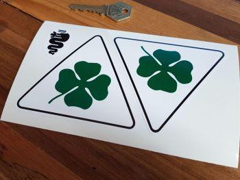 "Alfa Romeo Cloverleaf Static Cling Stickers. 4"" Pair."