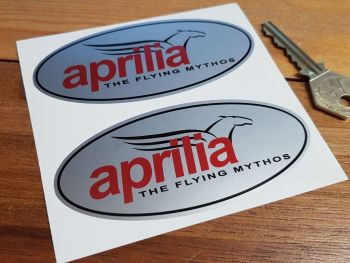 "Aprilia Flying Mythos Stickers. 4"" Pair."
