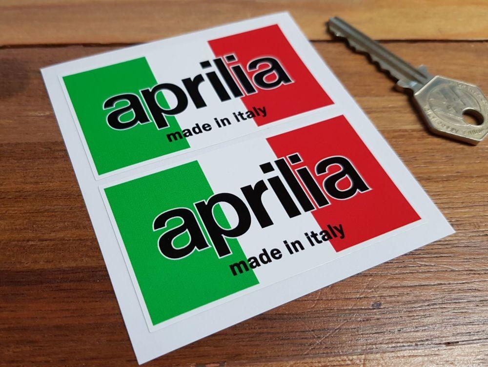 """Aprilia Moto Made in Italy Tricolore Stickers. 3"""" Pair."""