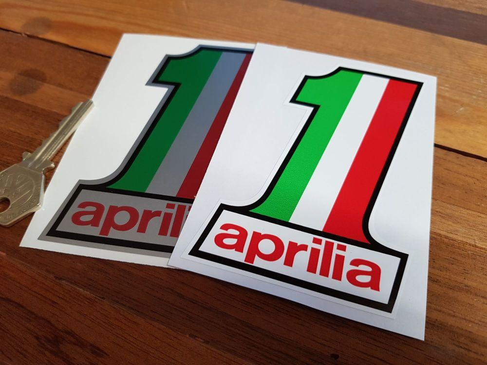 "Aprilia No.1 Stickers. 4"" Pair."
