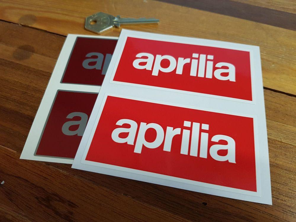 "Aprilia Text Stickers. 4"" Pair."