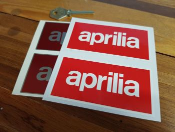 "Aprilia Text Stickers. 4"" Pair."