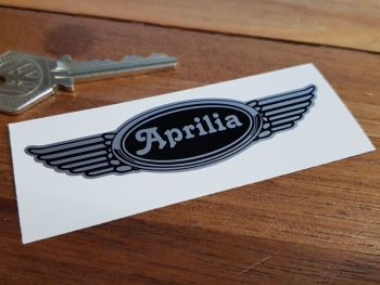 "Aprilia Winged Helmet Sticker. 3.5""."