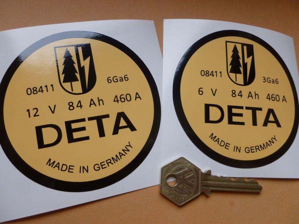 DETA Battery Sticker Porsche 356 etc. 6 or 12 Volt. 90mm.