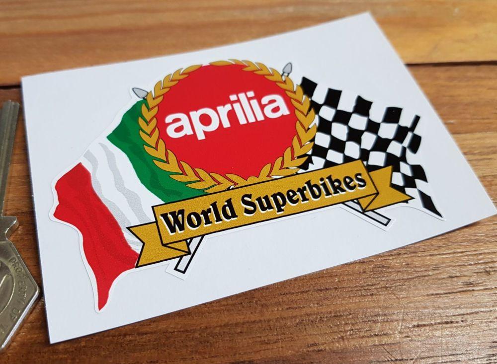 "Aprilia World Superbikes Flag & Scroll Sticker. 4"", 6"", or 8""."