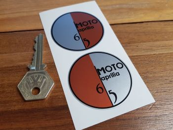 Moto Aprilia 6.5 Orange & Silver Stickers.  50mm, 54mm, or 70mm Pair.