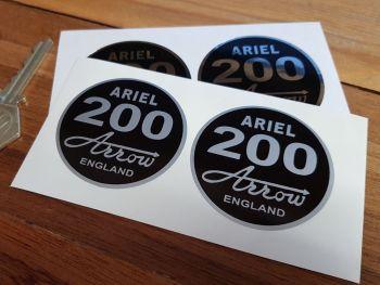 "Ariel '200' Arrow. England. Circular Stickers. 2"" Pair."