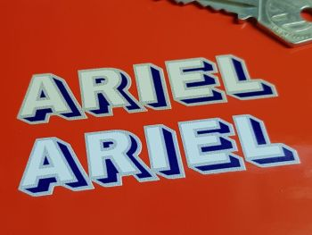 "Ariel Shadow Text Blue & Grey Stickers. 3"" or 5"" Pair."