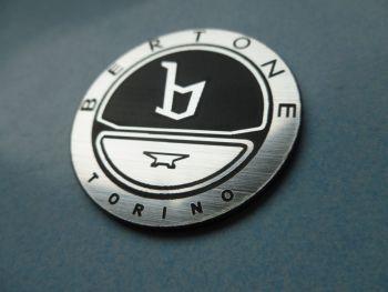 Bertone Torino Black & Silver Circular Laser Cut Self Adhesive Car Badge. 40mm