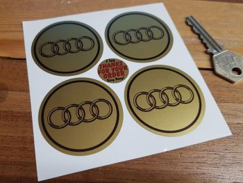 Audi Black & Gold Hoops Wheel Centre Stickers. Set of 4. 50mm.