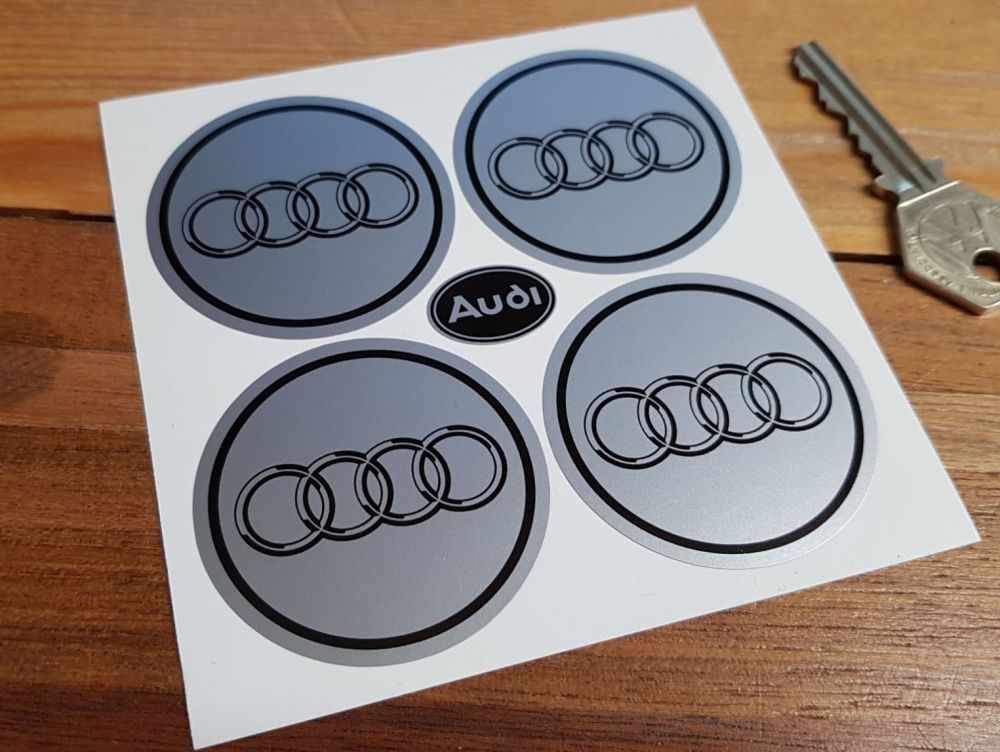 Audi Black & Silver Hoops Wheel Centre Stickers. Set of 4. 50mm.