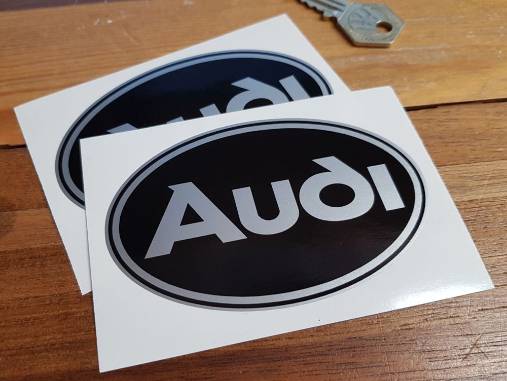 Audi Black & Silver Oval Stickers. 4