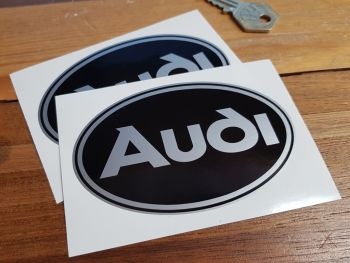 """Audi Black & Silver Oval Stickers. 4"""" Pair."""