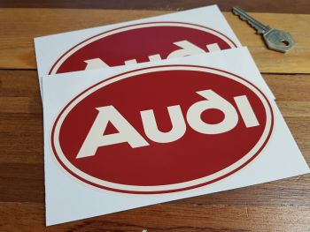 "Audi Brown & Cream Oval Stickers. 6"" Pair."